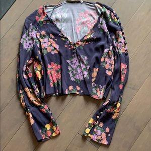 Zara V Neck Long Sleeve Navy Blue Floral Blouse XS
